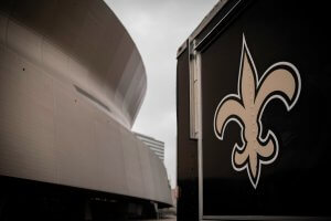 New Orleans, Louisiana - February 10, 2020: New Orleans Saints logo near the Mercedez-Benz Superdome